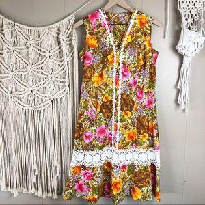 Vintage handmade 70s a-line lace dress size M